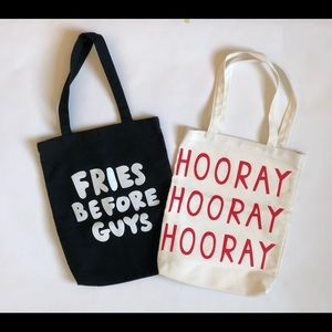 BAN.DO TOTE BAGS. LOT OF 2. HOORAY + FRIES. NEW